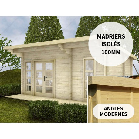 Chalet en bois massif 19m² Isolation madriers 100mm Gardy Shelter