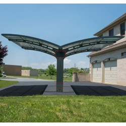 Carport double en alu gris et polycarbonate Arizona Breeze 5000 Palram